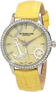Stuhrling Original Women's 520.1115G95 Vogue Audrey Verona Del Mar Swiss Quartz Swarovski Crystal Mother-Of-Pearl Watch