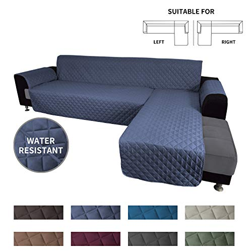 Easy-Going Sofa Slipcover L Shape Sofa Cover Sectional Couch Cover Chaise Lounge Slip Cover Reversible Sofa Cover Furniture Protector Cover for Pets Kids Children Dog Cat (Small,Dark Blue/Dark Blue)