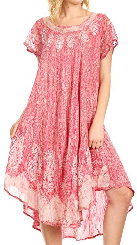 Sakkas 15900 - Bree Long Embroidered Cap Sleeve Marbled Dress - Orchid - OS (Pool Uk Loungers)