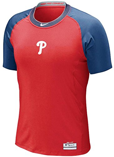 NIKE Philadelphia Phillies MLB Pro Combat Core 1.2 Dri-Fit AC Fitted T-Shirt (XL, Red/Blue)