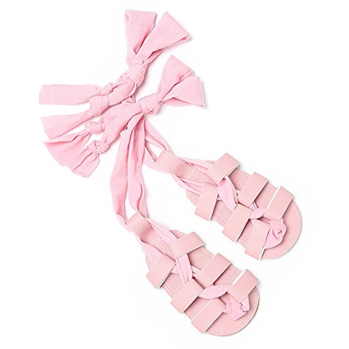 (Isbasic Baby Boys Girls Gladiator Sandals Artificial Leather Rubber Sole Roman Lace up Shoes (3-8 Months, A-Pink))