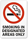 Smoking In Designated Areas Only (with symbol) - vertical Sign, 10'' x 7''