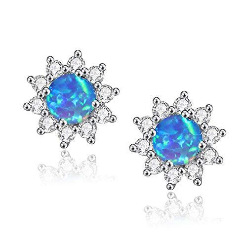 CiNily Opal Stud Earrings-Flower Earrings for Women Blue Opal Zircon Rhodium Plated Girls Hypoallergenic Earring Jewelry Gifts Gemstone Stud Earrings 12mm
