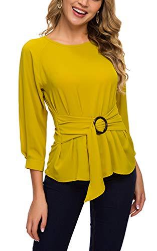 ACONIYAWomens Tie Knot Casual Belted Blouse Elegant Long/Short Sleeve Shirt Work Tunic Tops (Yellow, XL)
