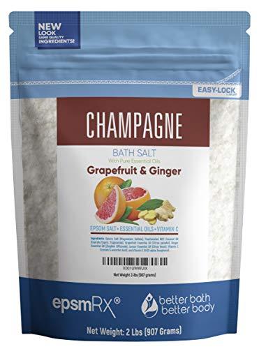 Champagne Bath Salt 32oz (2-Lbs) Epsom Salt With Grapefruit, Ginger, and Lemon Essential Oils - Enjoy A Bath Soak That Evokes The Citrus, Fruity Champagne Aroma - Now With BPA Free Press-Lock Pouch -