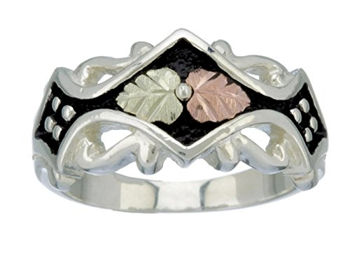 Antiqued Victorian Fancy Band, Sterling Silver, 12k Rose and Green Gold Black Hills Gold, Size 9.5 Black Hills Sterling Silver Bands