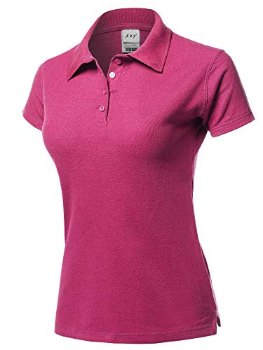 A2Y Womens Basic Casual Essentials 4-Button Junior-Fit PK Cotton Pique Polo Shirt