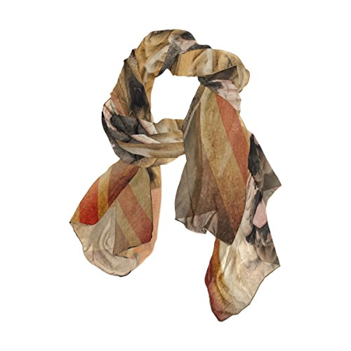 Use4 Vintage English Bulldog Union Jack Chiffon Silk Long Scarf Shawl Wrap