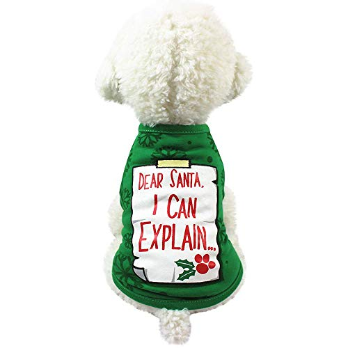 (Wakeu Pet Christmas Clothes Small Dog Shirt Vest Costumes Apparel (M, Santa Paws))