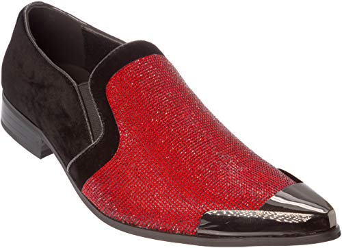 Cristiano Mens Slip-On Fashion-Loafer Sparkling-Glitter Metal-Tip Red Dress-Shoes Size ()