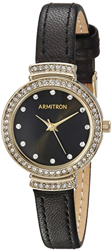Armitron Women's 75/5491BKGPBK Swarovski Crystal Accented Gold-Tone and Black Leather Strap Watch