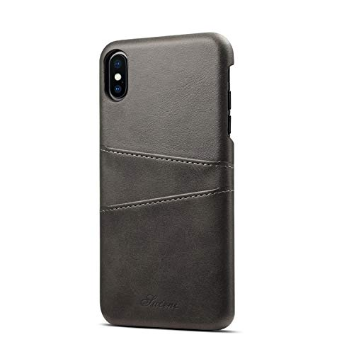 Cover Black Leather (Iphone 8 black case PU leather with wallet credit card scratch on the slim back cover case)