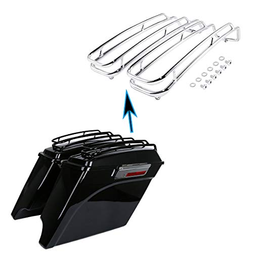 XMT-MOTO Saddlebags Lid Top Rail Guard fits for Harley Davidson all Touring road glide, road king, ultra, street glide, electra glide Models 1994-2013, Chrome