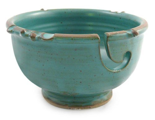 Anthony Stoneware Handmade Yarn Bowl, Teal Green