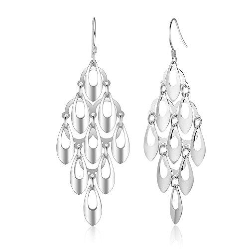 Kalapure Water Drop Tassel Earring, Sterling Silver Teardrop Dangle Earrings Best Gift for Women Mom by Kalapure