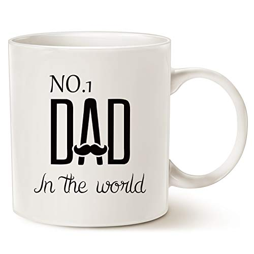 MAUAG Fathers Day Gifts Funny Mustache Dad Coffee Mug Christmas Gifts from Daughter or Son, NO.1 Dad in the World, Best Birthday Gifts for Dad Father Cup White, 11 Oz]()