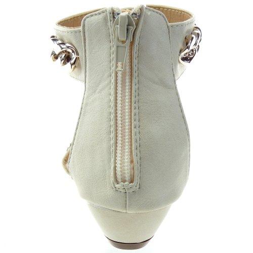 Kickly - Chaussure Mode Sandale cheville femmes Chaînes Talon compensé 3 CM - Intérieur synthétique - Beige/Or