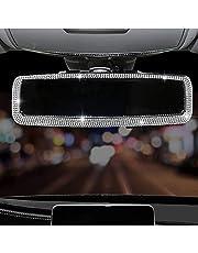 WedFeir Bling Rhinestone Car Rear View Mirror, Car Rear View Mirror with Crystal Diamonds Bling Rhinestones Car Rear View Mirror for Women,Car Interior Trim. (Sliver)