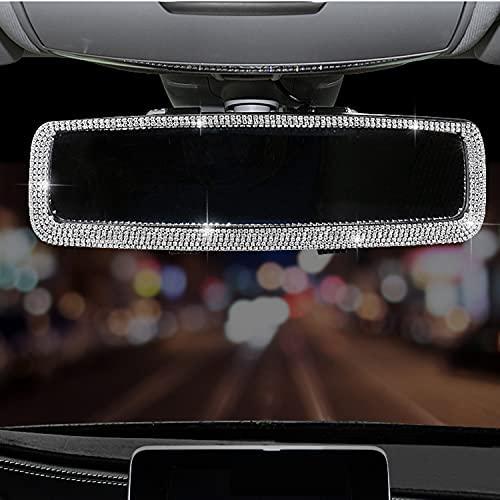 WedFeir Bling Rhinestone Car Rear View Mirror, Car Rear View Mirror with Crystal Diamonds Bling Rhinestones Car Rear View Mirror for Women,Car Interior Trim, Birthday (Sliver)
