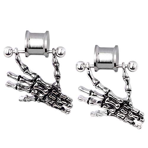 (Stainless Steel Dangle Ear Tunnels Screwed Stretcher Skull Hand Design Piercing Gauge 0g)