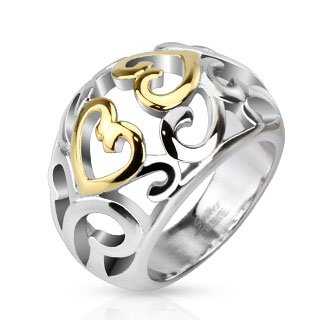 Ring Swirl Tone - STR-0049 Stainless Steel Two Tone IP Vintage Heart Swirls Frontal Ring; Comes With Box (10)