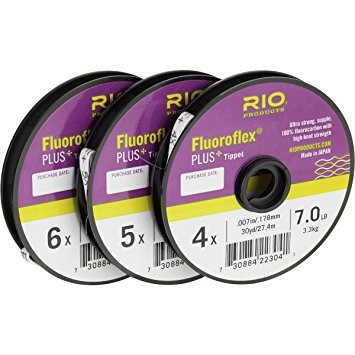 Rio Fluoroflex Plus Tippet - Rio Fly Fishing Tippet Plus Tippet 3 Pack 4X-6X Fishing Tackle, Clear