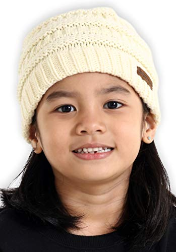 Brook + Bay Kids Cable Knit Beanie - Fits Girls, Boys, Babies, Toddlers & Children Ages 2 & Up - Thick, Soft & Warm Chunky Winter Hats - Perfect Kids Cold Weather Hat for The Winter Season