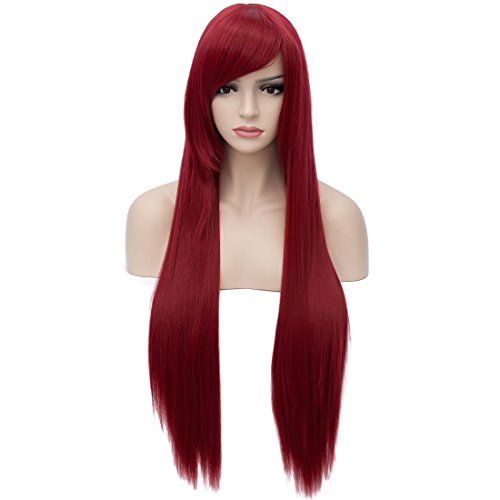 Aosler Wine Red Wigs for Women 32 inches Long Straight Cosplay Wigs Heat Friendly Synthetic Costume Party Wigs Halloween Hair ()