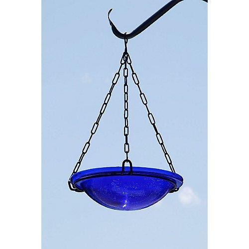 Achla Designs Crackle Glass Hanging Birdbath, 12-in bowl, Cobalt Blue