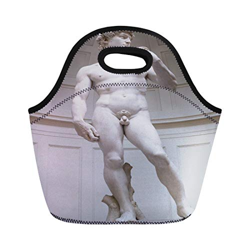 Semtomn Lunch Bags Black David Statue By Miguel Angel Florence Italy White Neoprene Lunch Bag Lunchbox Tote Bag Portable Picnic Bag Cooler Bag