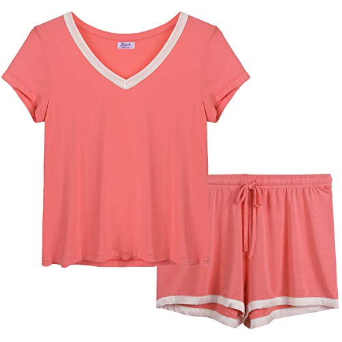 Joyaria Womens Bamboo Pajama Sets V Neck Short Sleeve Pj with Shorts & Pants(Rose Red,XX-Large)
