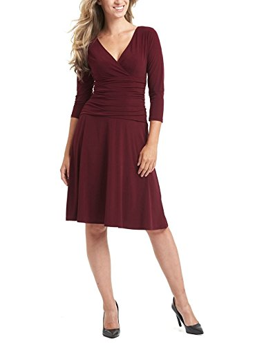 (sekitoba-japan.inc 3/4 Sleeve Slimming Fit Flare V Neck Dress for Women (Large, Burgundy))
