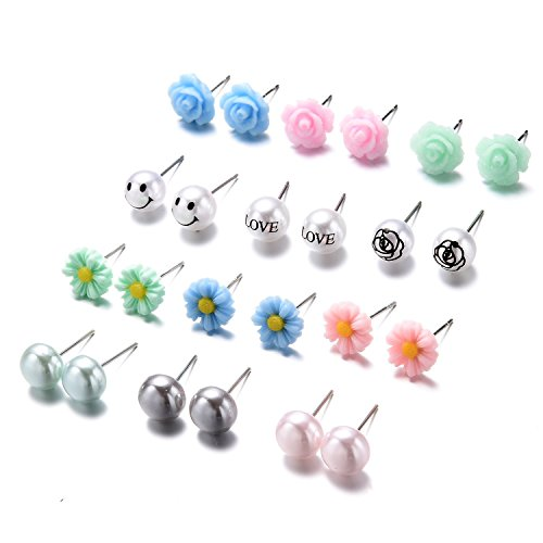 Pearl Daisy Ring - Women's Girl's Assorted Multiple Ball Daisy Rose Flower Pearl Stud Earrings Set 12 Style/pack