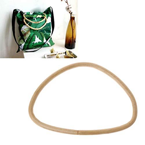 (Shoresua D Shape Bamboo Rattan Handle Purse Frame Handmade Bag Handle DIY Handbag Accessories)