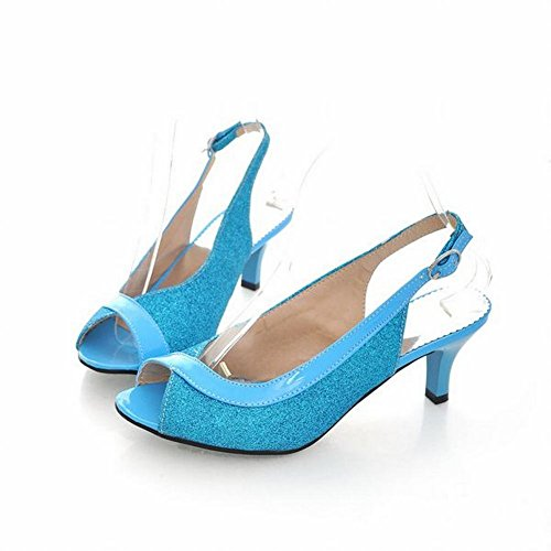 Carolbar Mode Femmes Boucle Slingback Peep Toe Robe Brillante Mi-talon Stiletto Sandales Bleu
