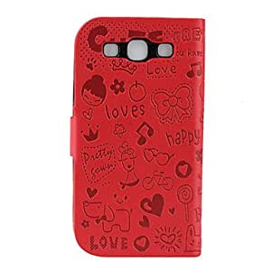 GHK - Cute Faerie Pattern PU Leather Wallet Case for Samsung Galaxy S3 I9300 (Red)