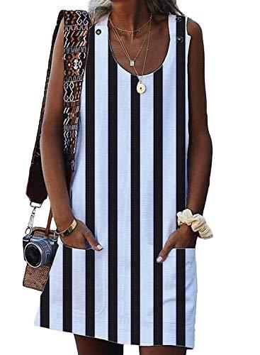 (Eytino Women Summer Casual Stripe Sleeveless Button Mini Dress with Pocket,X-Large White)