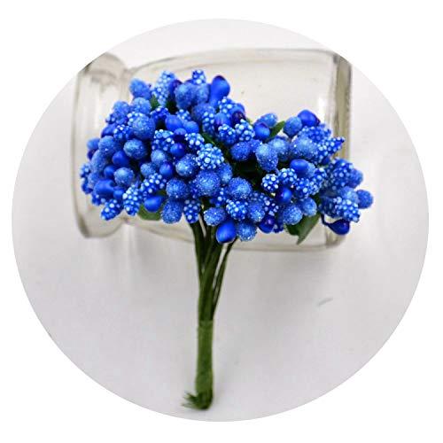 12Pcs/Lot Handcraft Artificial Flowers Stamen Sugar Wedding Party DIY Wreath Gift Box,Royal Blue