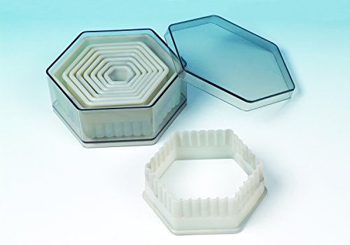 9 piece set acrylic Hexagon Fluted cookie cutter for Cookies, Pastry, Biscuits, Pie Tops, Sugarcraft and Cake decoration