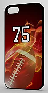Flaming Football Sports Fan Player Number 75 Black Rubber Decorative iPhone 6 PLUS Case