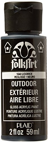 Patio Paint Wrought Iron - FolkArt Outdoor Acrylic Paint in Assorted Colors (2 Ounce), 1640 Licorice