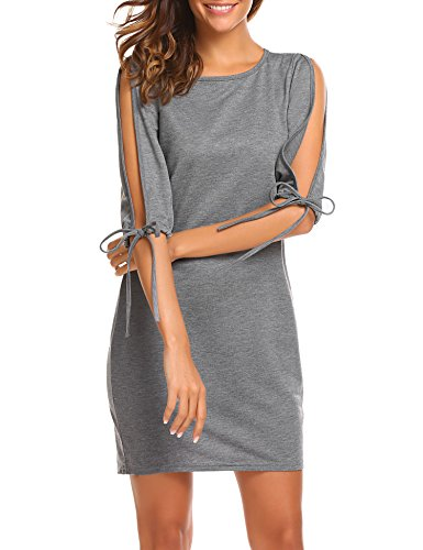 SE MIU Women Half Slit Sleeve Simple Slim Sheath Dress, Dark Grey, XL Simple Half Sleeve