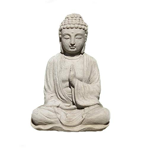 (Designer Stone Blessing Buddha Statue: Solid Stone Antique Gray Sculpture. Sealed for Outdoor Use.)