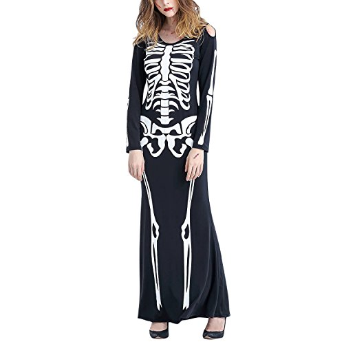CHNS Women's Skeleton Print Halloween Cosplay Dress Costumes for Halloween Carnival
