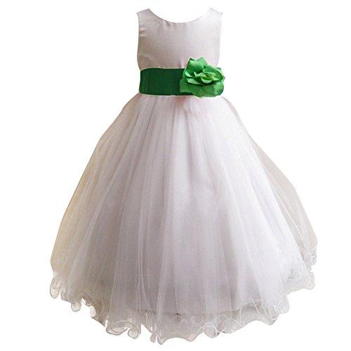 Girls Green Organza Tutu (White Tulle Flower Girl Dresses-LSERVER 2017 New Party Sleeveless Dresses For Little Girls 2-8T)