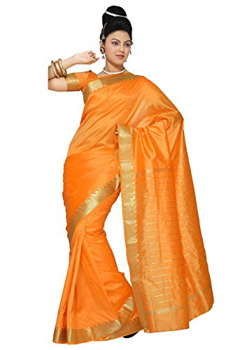 (Sanskruti India Womens Indian Ethnic Traditional Banarasi Art Silk Saree Sari Wrap Fabric Dress Drape (Yellow))