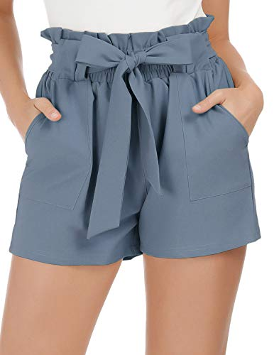 GRACE KARIN Women Fashion Casual High Waist Loose Shorts with Belt 2XL Blue-Gray(Shorts)