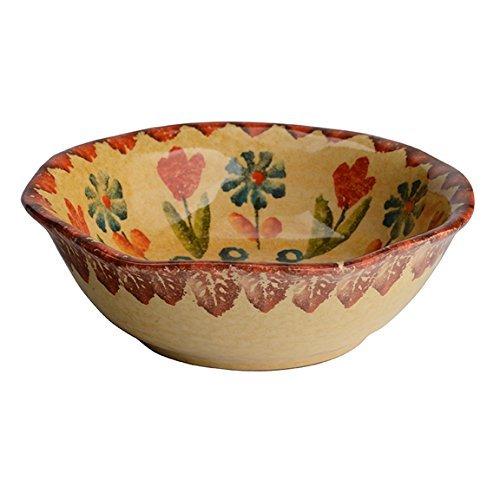 Festa Dinnerware – Fruit Bowl w/Floral Art Design - Festive Dinnerware made of Italian Dinnerware Set of Flowery Hand Painted Ceramic -