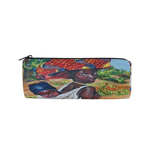 Pencil Case Oil Portrait Art of African American Woman Zippered Pencil Box Round Stationery Bag Makeup Cosmetic Bag for Women/Students - Portrait Potter