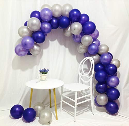 Sorive 100pcs Latex Pearl Balloons Thicked Round Balloon DEEP PURPLE&LIGHT PURPLE&SILVER balloon Wedding&Birthday Decoration globos Party Baloons